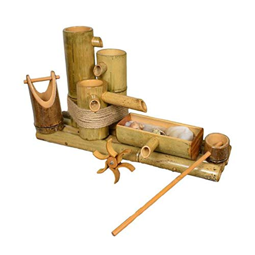 YangQianWen Fuente del jardín Fuente de Agua de Estilo japonés de bambú Patio Menaje Fuente del Estanque de Piscina Balcón,60cm