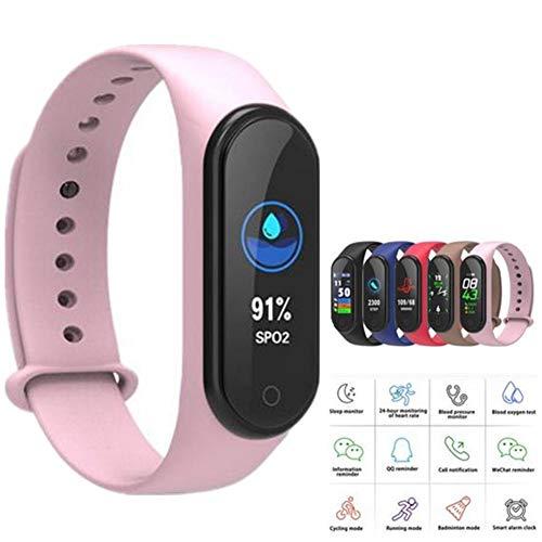 Fitness Tracker M4, Aktivitäts-Smartwatch mit Herzfrequenz- und Blutdruckmessgerät, wasserdichtes Gesundheits-Trainingsarmband mit Schrittzähler, Anruf- und SMS-Schrittzähler für Damen und Herren