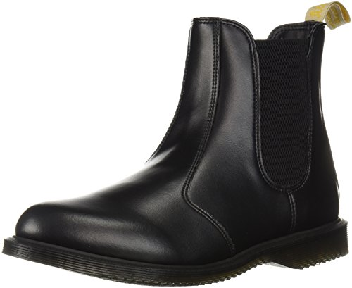 Dr. Martens Women's Vegan Flora Chelsea Ankle Boot, Black Felix Rub Off, 8
