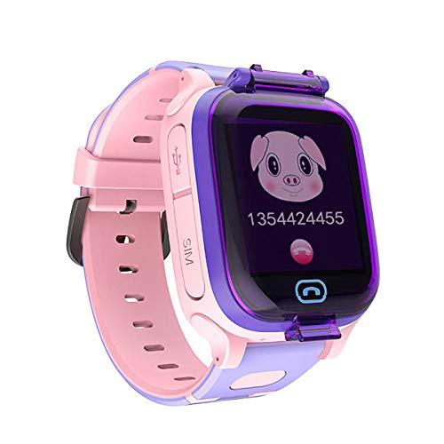 Reloj Inteligente para Niños a Prueba de Agua IP67, Teléfono Smartwatch LBS localizador SOS Alarma por Chat de Voz Cámara, Regalo para Niño Niña Reloj Digital de Pulsera (Rosado)
