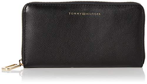 Tommy Hilfiger Damen Elevated Leather Lrg Za Umhängetasche, Schwarz (Black), 0x0x0cm