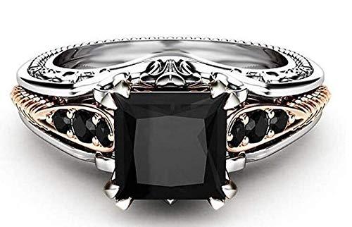 Hugyou - Anillo creativo de diamante de corte negro para mujer, accesorios de joyería para decoración de dama