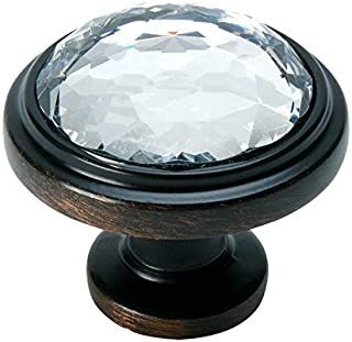 10 Pack - Cosmas 5317ORB-C Oil Rubbed Bronze Cabinet Hardware Round Knob with Clear Glass - 1-1/4