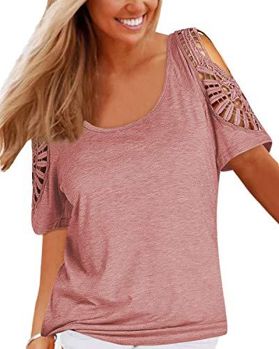 YOINS Camisetas de mujer de verano de manga corta elegante para mujer camiseta de algodón básica camisa casual top Rosa XL
