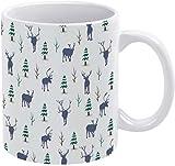 Tazza da caffè acquerello Elk Cervo cervo renna Silhouette con albero modello vacanza tazza caffè