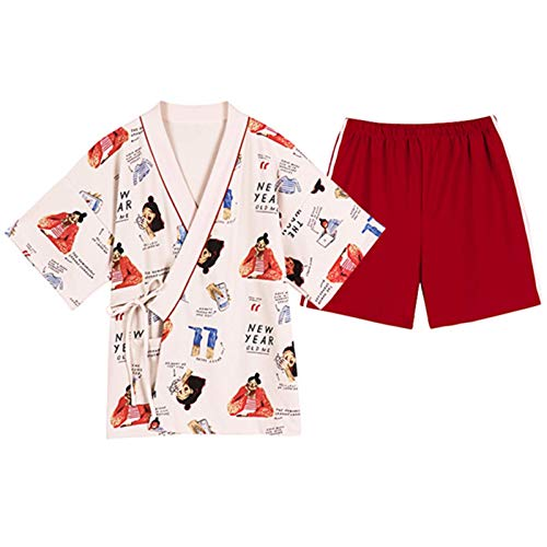 N/F Pijamas Estilo Kimono Pijamas Sexis para Mujer Pantalones Cortos de Manga Corta Suaves y cómodos patrón de Dibujos Animados Pijamas con Cuello en V Sueltos