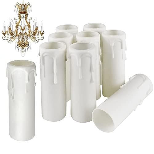 Prmape 20 Stk Kerzen-Tropfhülsen, Kronleuchter Kunststoff Kerzenhülse, Weiße Kunststoff-Kerzenabdeckungen Röhren Hülsen für Kristall Kronleuchter LED Kerzen Kronleuchte Wandleuchte Hängelampe