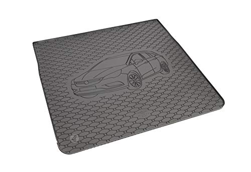 Passgenau Kofferraumwanne geeignet für Opel Astra K Sports Tourer ab 2015 ideal angepasst schwarz Kofferraummatte + Gurtschoner