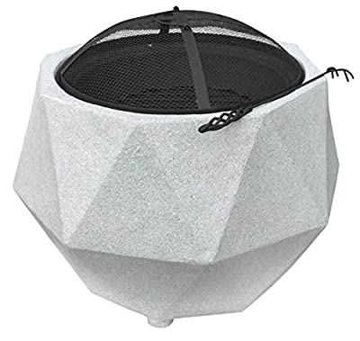 Rammento Outdoor Fire Pit Bowl & BBQ Grill Hexagon Shaped Patio Fire LARGE Outdoor Fire Pit 64.5cm Granite Texture Light Grey 48.5cm Height from Rammento