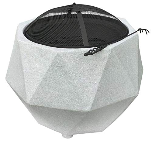Rammento Outdoor Fire Pit Bowl & BBQ Grill Hexagon Shaped Patio Fire LARGE Outdoor Fire Pit 64.5cm Granite Texture Light Grey 48.5cm Height