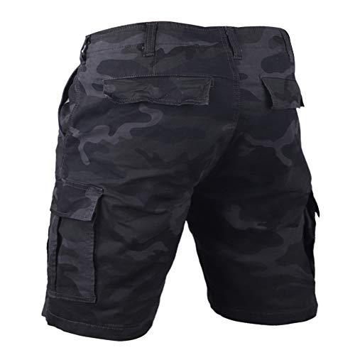 GYMAPE - Pantalones cortos tipo cargo para hombre, estilo vintage, varios bolsillos, ajuste relajado, 100% algodón pesado Negro Camuflaje negro. 48 ES (38/39.5W)