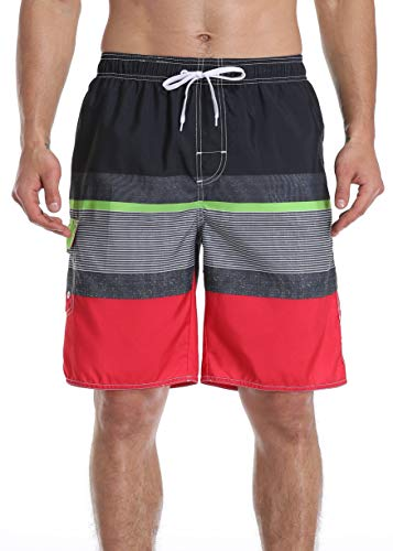 NEOSAN Men's Swim Trunks Beach Board Shorts Dry Quickly Stripe Bathing Suits