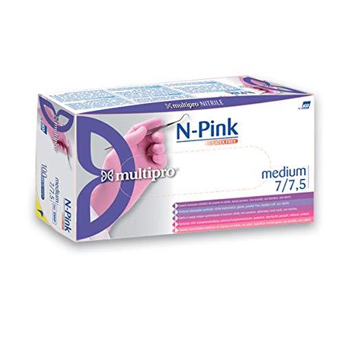 Multipro Nitrile N handschoen, L, Roze, 100