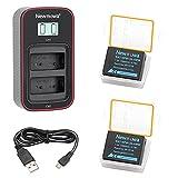 Newmowa NP-W126 Batería de Repuesto (Paquete de 2) y Cargador USB Dual con Pantalla LCD Inteligente para Fujifilm NP-W126 NP-W126S y FinePix X100F X-A1 X-A2 X-E1 X-E2 X-M1 X-Pro1 X-Pro2 X-T1