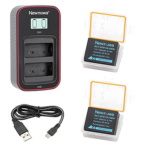 Newmowa NP-W126 Batteria di ricambio (confezione da 2) e display LCD intelligente Caricatore doppio USB per Fujifilm NP-W126 NP-W126S e FinePix X100F X-A1 X-A2 X-E1 X-E2 X-M1 X-Pro1 X-Pro2 X-T1 X-T2