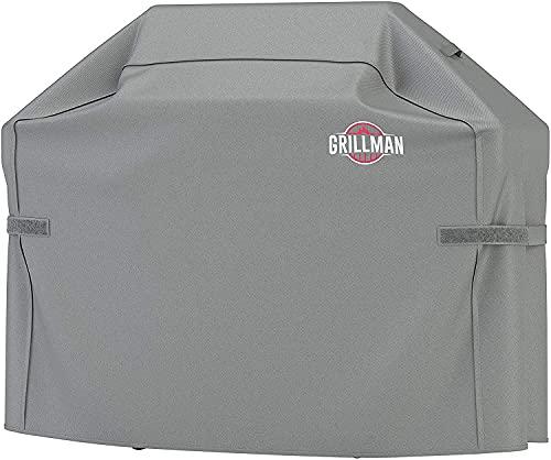 Grillman Premium BBQ Grillabdeckung Heavy Duty Gasgrill Abdeckung für Weber, Brinkmann, Char Broil etc. Reißfest, UV & Wasserfest (58 inch / 147 cm, Grau)