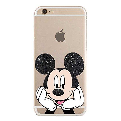 SLIDE IP6 6S Cover in TPU Gel Trasparente Custodia Protettiva, Glitter Special Collection, Disney Mickey Mouse Topolino, iPhone 6 6S