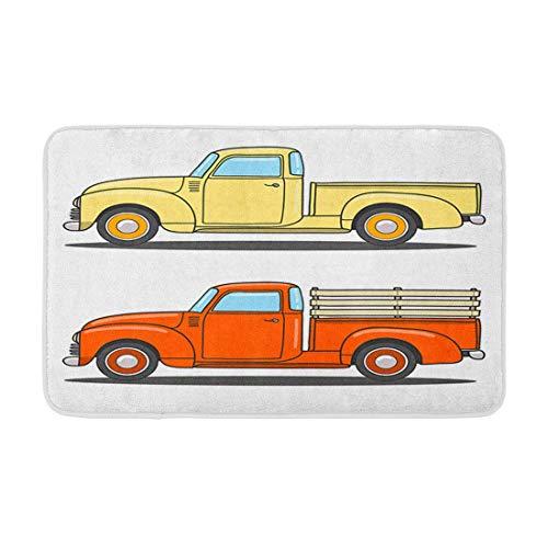 LiminiAOS Badematte Set von r Retro Pickup Truck Doodlefood Foodtruck Kaffee Sommer Vintage Grafik Gemütliche Badezimmer Dekor Bad Teppich mit Rutschfester Rückseite