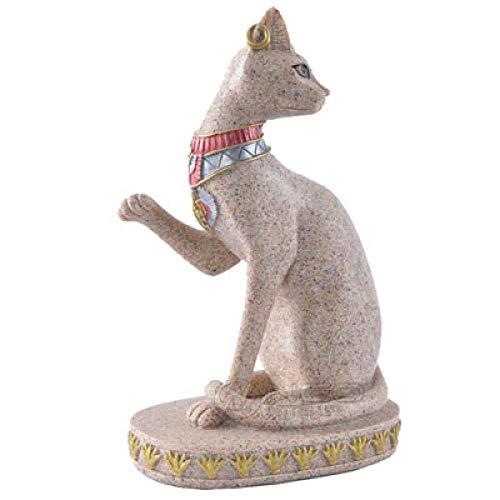 ZTIANEF Estatua De La Escultura Estatuillas Decoracion Escultura De Gato Egipcio De Piedra Arenisca Estatua Figura Tallada A Mano Artesanía Arte Oficina En Casa Estantería Deskt