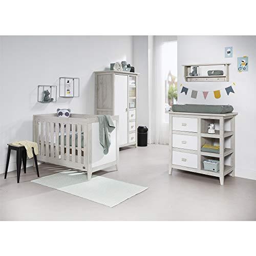 Chambre complète lit bébé 60x120 - commode à langer - armoire Nice - Bois
