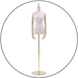 أشكال فستان دمية للنساء من Tailors Dummy Dress شكل جذع أبيض مع ذراع 130-195 سم قاعدة مستديرة قابلة للفصل لعرض الملابس