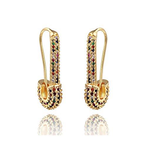 Pendientes de tuerca con diseño de estrella distante arcoíris y circonita para mujer, de oro rosa, E1193