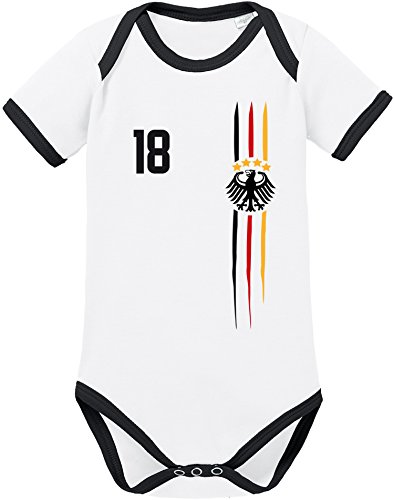 EZYshirt® WM & EM Deutschland | WM Sternchen | M 03 | Wunschname und Nummer Baby Body Kurzarm Bio Baumwolle