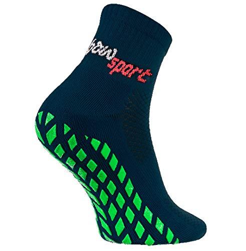 Rainbow Socks - Damen Herren Neon Sneaker Sport Stoppersocken - 1 Paar - Blau - Größen 47-50