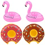 OBANGONG 4 Pack Inflatable Drink Holders Flamingo Pool Drink Floats for Kids Donuts Style Pool Cup Coaster Floats Accessories for Pool Party