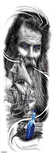 4 Blätter Temporäre Tattoo Aufkleber Haut Wasserfest Männer Frauen Kinder Schwarz Tattoo Körperkunst Jesus Statue Segelboot Schädel Fake Arm Schultern Tattoos Sticker Abnehmbare Für Party Festival Sho
