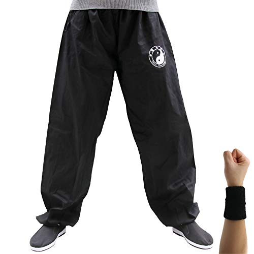 Dee Plus Tai Chi Trainingshose | Damen und Herren Kung Fu Uniformen Kampfsport | Qigong Wing Chun Shaolin Weite Beine Knickerbocker Kleidung -Baumwolle