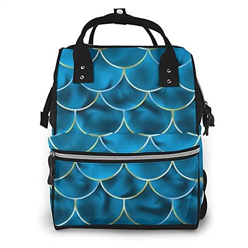 Sirena Acales Fish Squama Azul Gran Capacidad Multifunción Mummy Mochila Bebé Pañal Bolsas para el Cuidado del Bebé