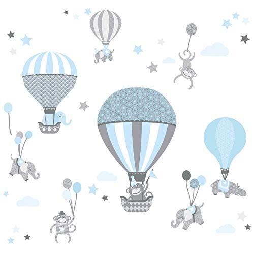 Anna Wand Wandsticker HOT AIR Balloons HELLBLAU/GRAU - Wandtattoo für Kinderzimmer/Babyzimmer Heißluftballons - Wandaufkleber Schlafzimmer Mädchen & Junge, Wanddeko Baby/Kinder / 2 DIN A4 Bögen