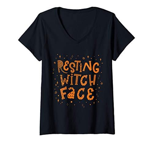 Mujer Cara de Bruja Divertida Descansada disfraz de adulto de Hall Camiseta Cuello V