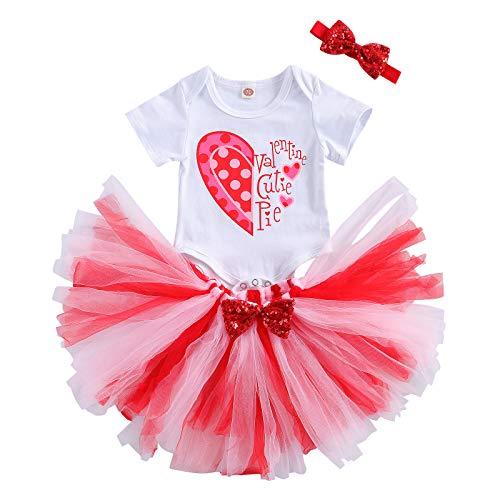 Frobukio Enterizo para recién nacido, para el día de San Valentín, con estampado de letras, parte superior blanca y faldas de tul con tocado, ropa de bebé