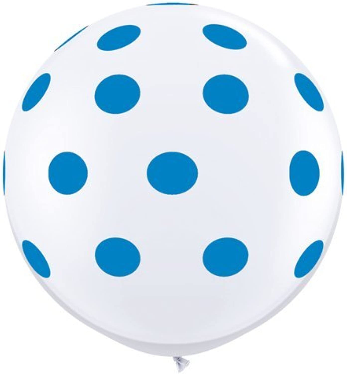 Single Source Party Suppies  36  Big Standard Dark bluee Polka Dots on White Latex Balloons