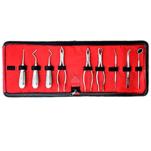 9 Pcs Basic Dental Surgery Extracting Forceps Elevators Set Kit - Stainless Steel Dental Surgical Instruments with CASE