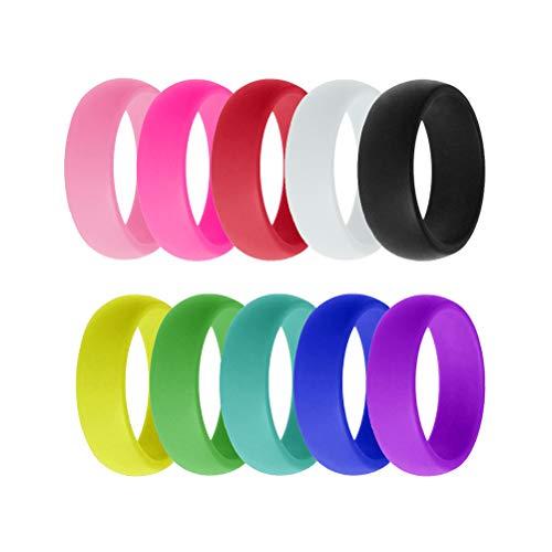 Toyvian Anillos de Silicona de 8 mm 10 Colores Mixtos para Mujeres Hombres