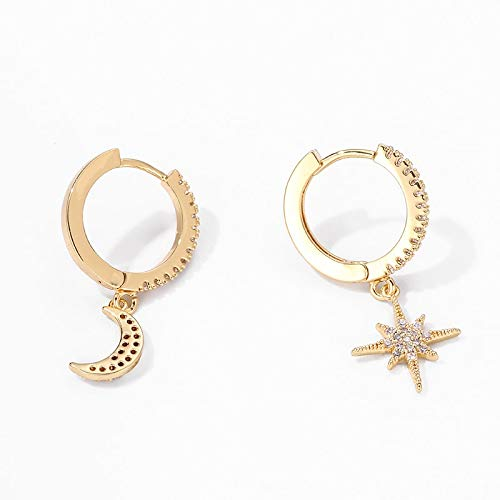 Shiny cubic zircon Star And Moon Earrings Hoop Earrings For Women Girls Korean Jewelry