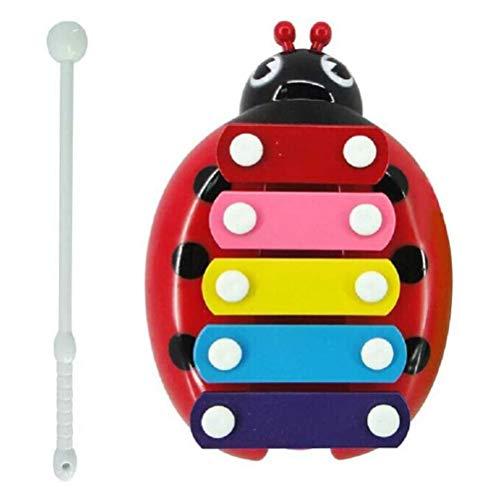 Borstu Kinder Musikinstrumenten Spielzeug Kreativer Marienkäfer 5 Töne Handschlag Klavier Baby Percussion Instrumente für Kinder Vorschulunterricht Pädagogisches Spielzeug