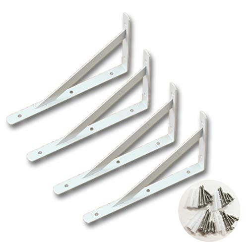 Nanmara L字型 棚受け 金具 4本セット ビス付き ブラケット 250mm×160mm×16mm 白 ホワイト