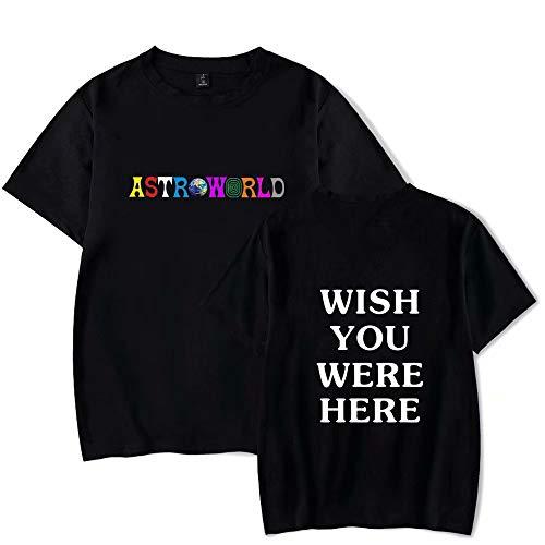 ASTROWORLD Travis Scott Album Merch Camiseta Moda ASTROWORLD Carta de Hip Hop Deseo Que estuvieras AQUÍ Camiseta de algodón con Cuello Redondo Suelta para Hombres/Mujeres