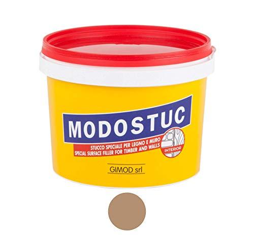 MODOSTUC Noce Chiaro - Stucco Professionale In Pasta Pronto all'Uso Per Interni Ideale per Legno e Muro a Rapida Essiccazione e Perfetta Adesione, 1 Kg.