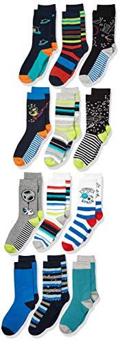 Amazon Brand - Spotted Zebra Kids Boys Crew Socks, 12-Pack Dinos in Space, X-Small
