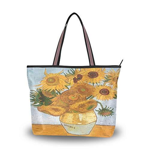 Emoya Damen Fashion Handtasche Van Gogh Vase mit 12 Sonnenblumen Tote Schultertasche oben Griff Tasche für Frauen, Mehrfarbig - multi - Größe: Medium