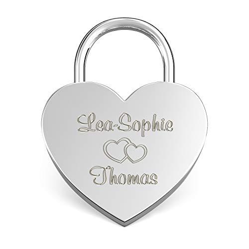 LIEBESSCHLOSS-FACTORY Candado de amor Plateado grabado en forma de corazón. Caja de regalo y mucho mas.Diseña tu castillo ahora grabado!