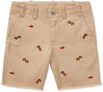 Ralph Lauren Polo Boys Embroidered Bulldog Chino Shorts 6 Beige product image