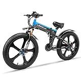 LANKELEISI TT750PLUS 26 Inch Large Folding Tyre Snow Mountain Electric Bike Beach 48V10Ah Shimano 27 Speeds Full Suspension 500W Motor, Double Hydraulic Disc Brake