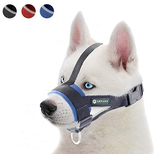 ILEPARK Hunde Maulkorb Soft Nylon Haustier für Kleine,Mittlere und Große Hund,Verhindert Beisen, Bellen und Kauen abzuhalten anpassbare (S,Blau)