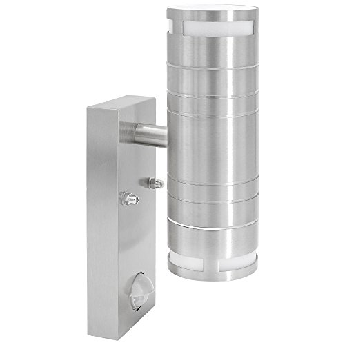 Edelstahl Wandleuchte aussen mit Bewegungsmelder & Dämmerungssensor 2-Flammig up & down für GU10 Leuchtmittel LED oder Halogen
